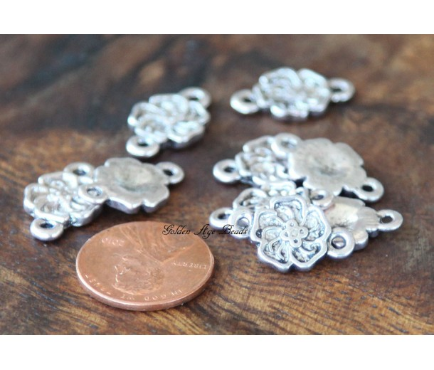12x16mm Flower Links, Antique Silver