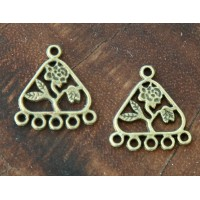 21x23mm Floral Triangle Chandelier Components, Antique Brass, Pack of 8