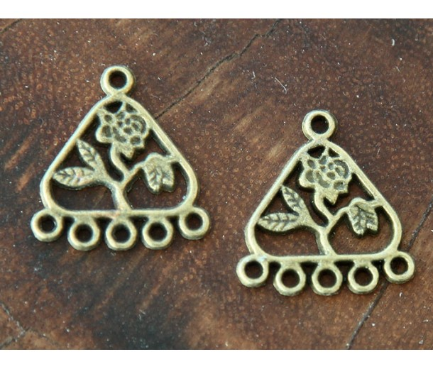 21x23mm Floral Triangle Chandelier Components, Antique Brass