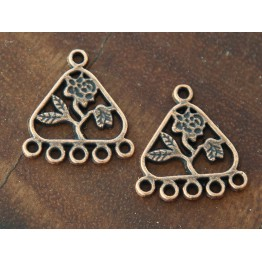 21x23mm Floral Triangle Chandelier Components, Antique Copper
