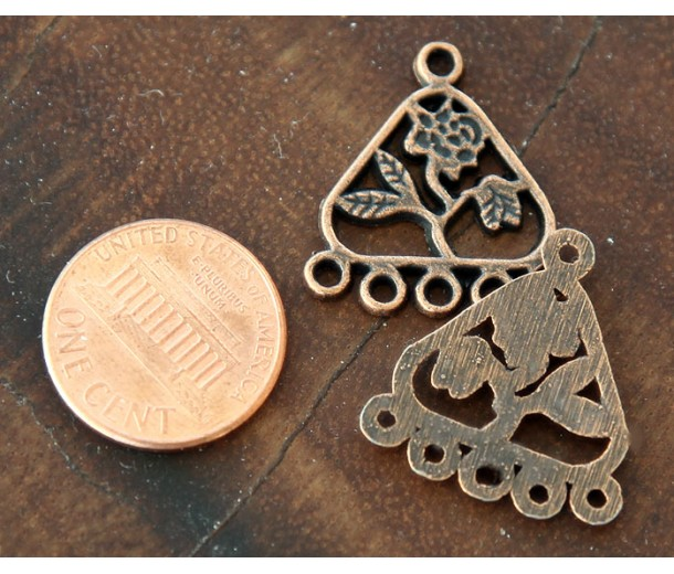 21x23mm Floral Triangle Chandelier Components, Antique Copper, Pack of 8