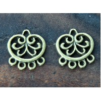 16mm Floral Circle Chandelier Components, Antique Brass