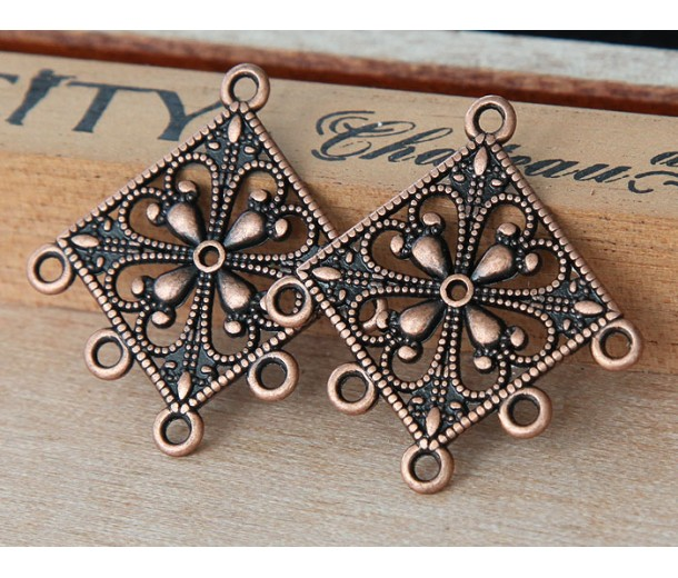 35mm Filigree Diamond Chandelier Components, Antique Copper