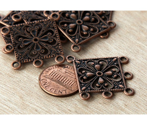 35mm Filigree Chandelier Components, Antique Copper, Pack of 4