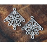 35mm Filigree Diamond Chandelier Components, Antique Silver, Pack of 4