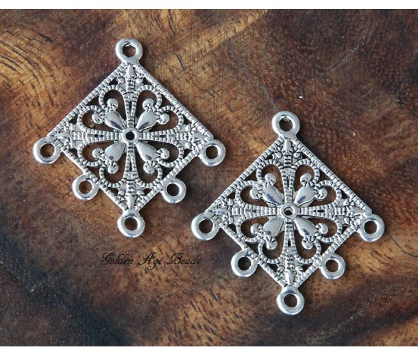 35mm Filigree Diamond Chandelier Components, Antique Silver
