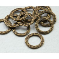 11mm Hammered Linking Rings, Antique Brass, Pack of 20