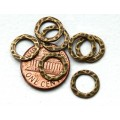 11mm Hammered Linking Rings, Antique Brass