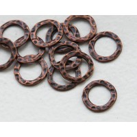 11mm Hammered Linking Rings, Antique Copper, Pack of 20