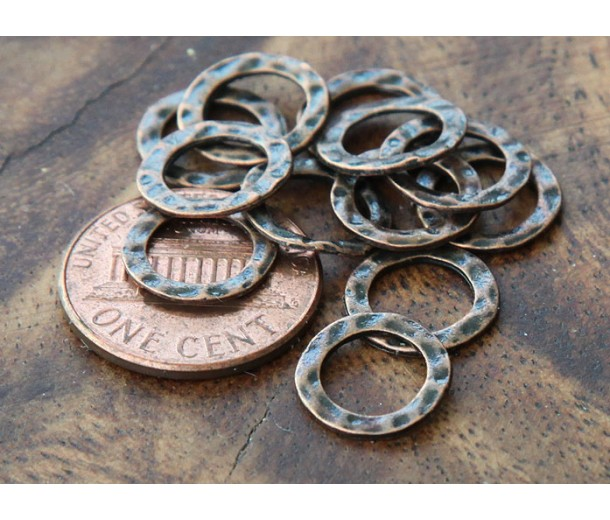 11mm Hammered Linking Rings, Antique Copper