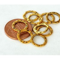 11mm Hammered Linking Rings, Antique Gold