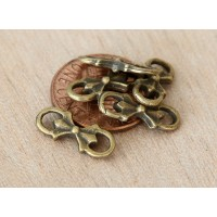 6x15mm Floral Bow Links, Antique Brass, Pack of 20