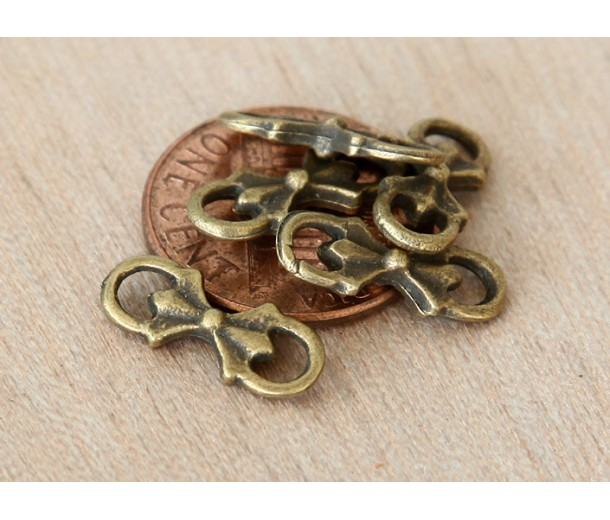 6x15mm Floral Bow Links, Antique Brass