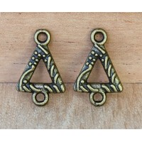 11x16mm Textured Triangle Links, Antique Brass, Pack of 20