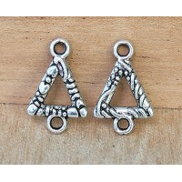 11x16mm Textured Triangle Links, Antique Silver, Pack of 20