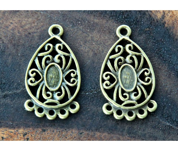 18x32mm Ornate Teardrop Chandelier Components, Antique Brass, Pack of 4