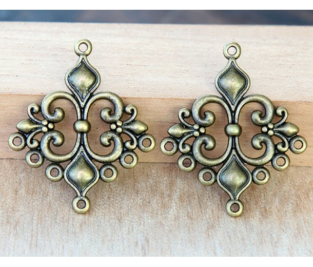 29x35mm Fleur-de-Lis Chandelier Components, Antique Brass