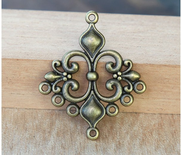 29x35mm Fleur-de-Lis Chandelier Components, Antique Brass, Pack of 4