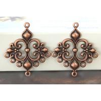 29x35mm Fleur-de-Lis Chandelier Components, Antique Copper, Pack of 4