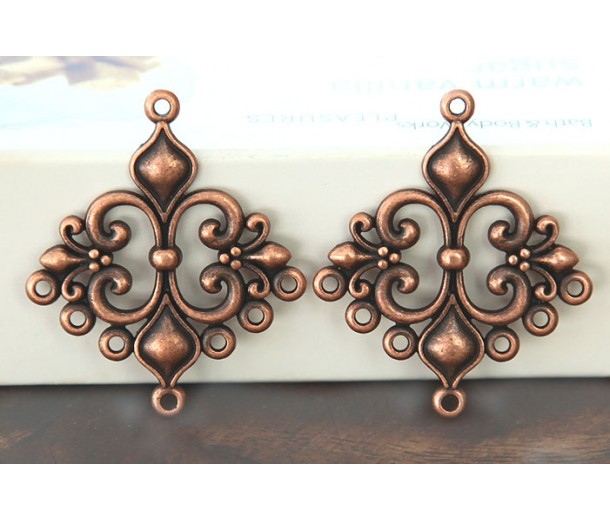 29x35mm Fleur-de-Lis Chandelier Components, Antique Copper, Pack of 4