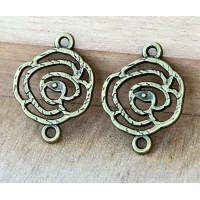 20x27mm Filigree Rose Links, Antique Brass