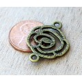 20x27mm Filigree Rose Links, Antique Brass, Pack of 6