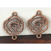 20x27mm Filigree Rose Links, Antique Copper, Pack of 6