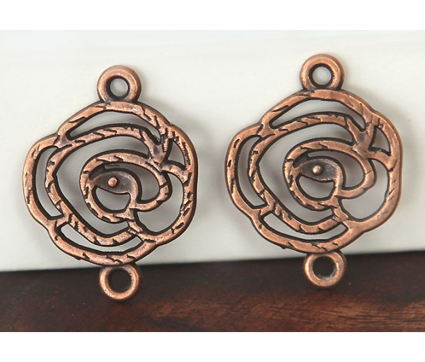 20x27mm Filigree Rose Links, Antique Copper