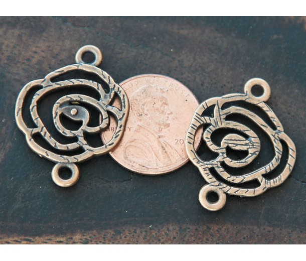20x27mm Filigree Rose Links, Antique Copper, Pack of 6