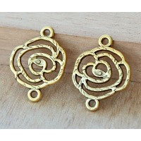 20x27mm Filigree Rose Links, Antique Gold, Pack of 6