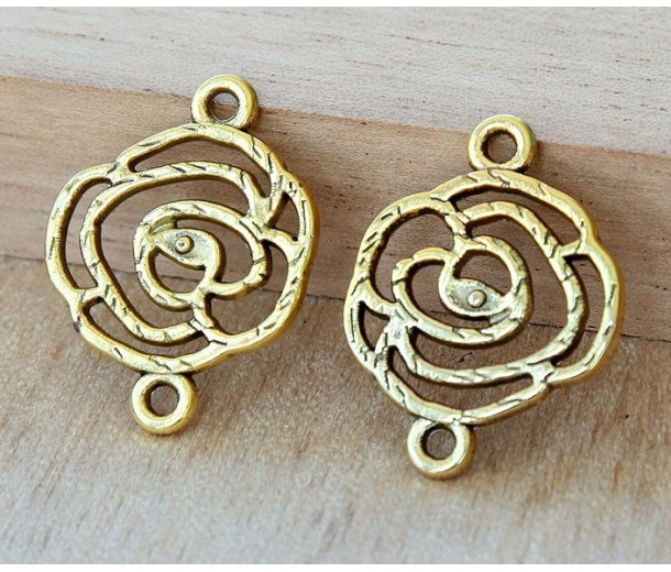 20x27mm Filigree Rose Links, Antique Gold