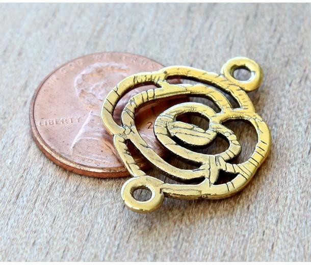 20x27mm Filigree Rose Links, Antique Gold, Pack of 6