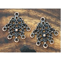 27x30mm Ornate Diamond Chandelier Components, Antique Copper, Pack of 4