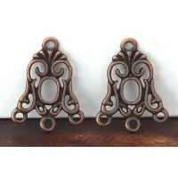 19x24mm Art Nouveau Chandelier Components, Antique Copper, Pack of 8