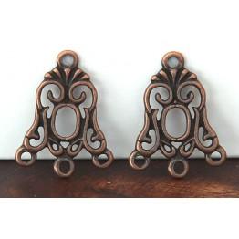19x24mm Art Nouveau Chandelier Components, Antique Copper