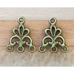 17x20mm Fancy Chandelier Components, Antique Brass
