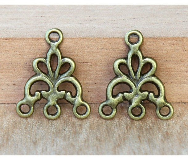 17x20mm Fancy Chandelier Components, Antique Brass, Pack of 8