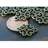 12x18mm Filigree Oval Links, Antique Brass, Pack of 10