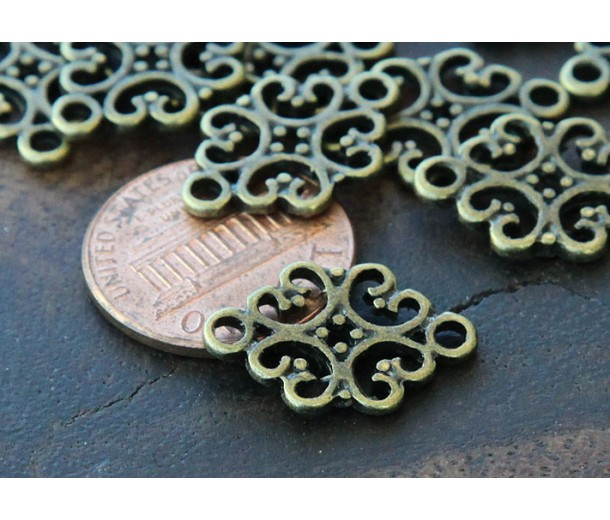 12x18mm Filigree Oval Links, Antique Brass
