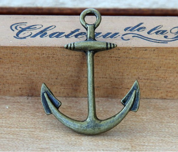 25x32mm Anchor Links, Antique Brass, Pack of 5