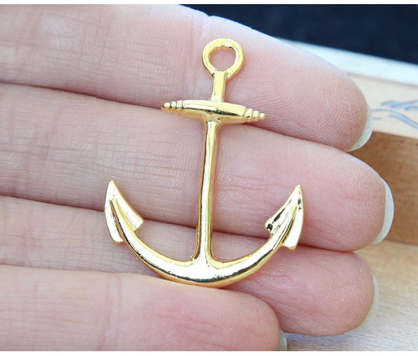 25x32mm Anchor Links, Gold Tone, Pack of 5