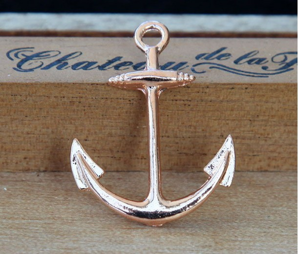 25x32mm Anchor Links, Rose Gold Tone, Pack of 5