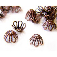 7x4mm Filigree Flower Bead Caps, Antique Copper