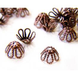 7x4mm Filigree Flower Bead Caps, Antique Copper