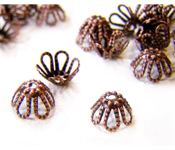 7x4mm Filigree Flower Bead Caps, Antique Copper, Pack of 50