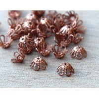 7x4mm Filigree Flower Bead Caps, Genuine Copper