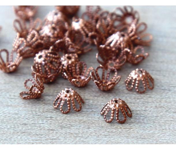 7x4mm Filigree Flower Bead Caps, Genuine Copper