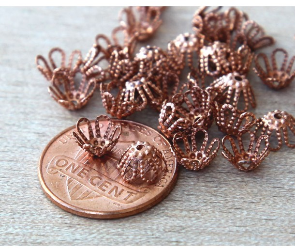 7x4mm Filigree Flower Bead Caps, Genuine Copper, Pack of 36