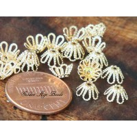 7x4mm Filigree Flower Bead Caps, Gold Plated