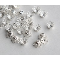 7x4mm Filigree Flower Bead Caps, Silver Plated